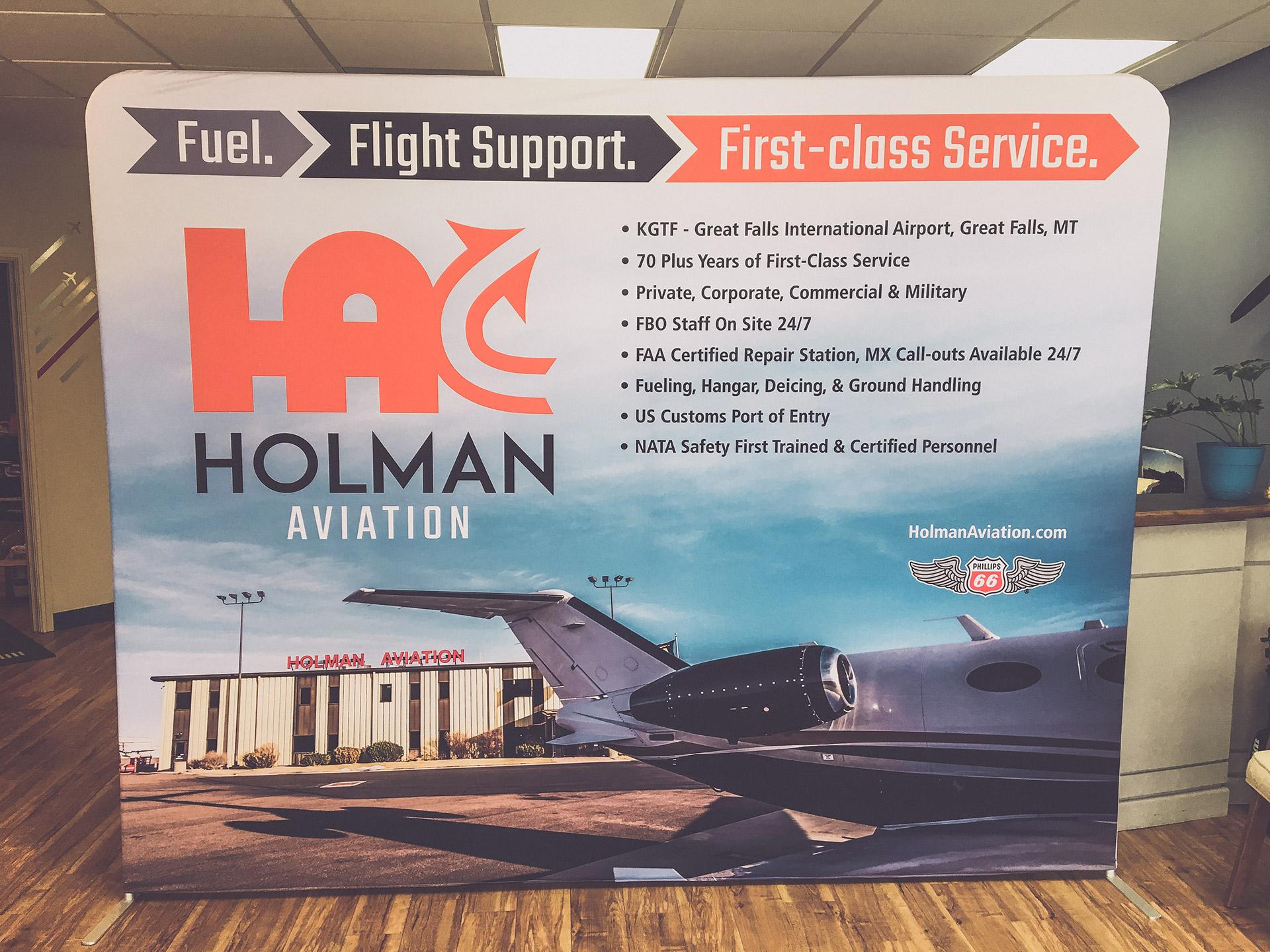 Custom Fabric Display for Holman Aviation